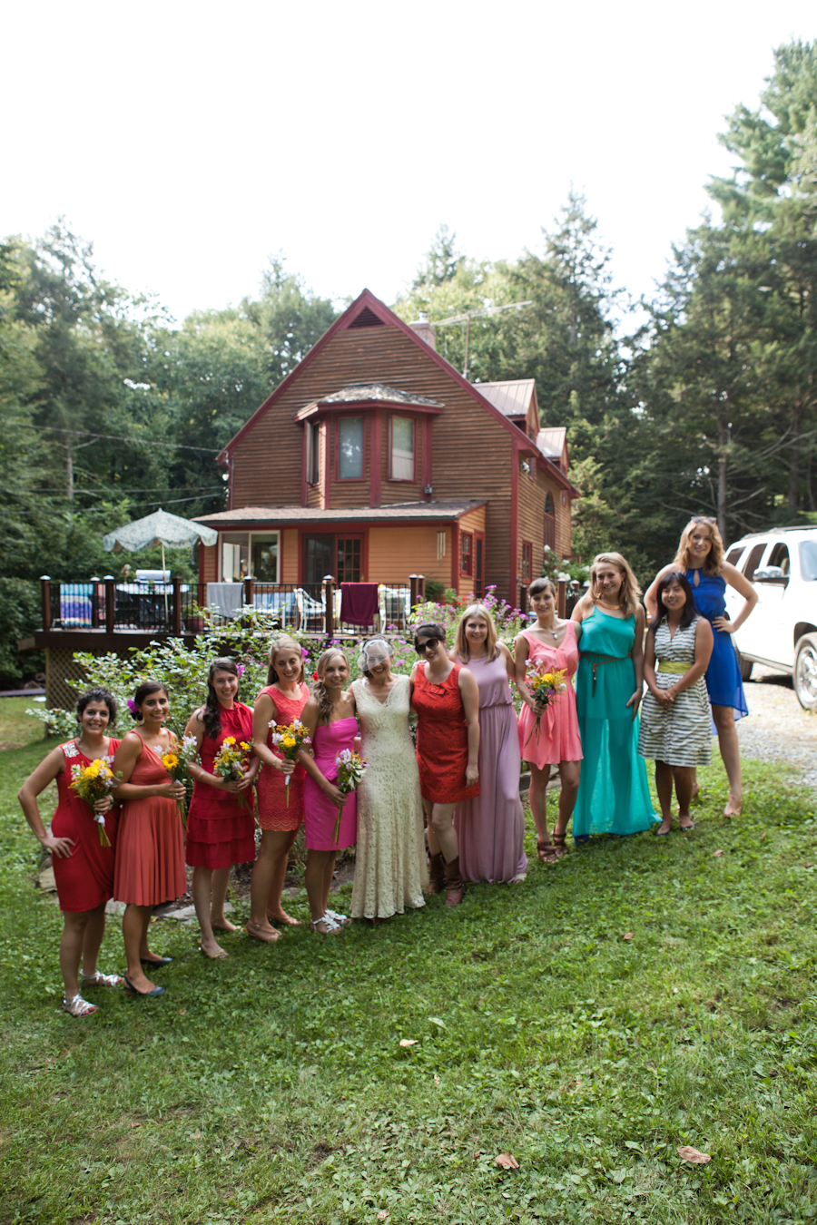 Upstate New York Summer Backyard Barn Wedding DIY Bride Colorful Bridesmaid Dresses
