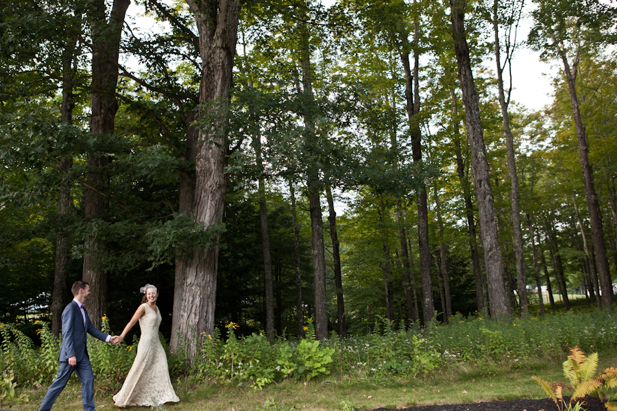 Upstate New York Summer Backyard Barn Wedding DIY Bride Groom Forest