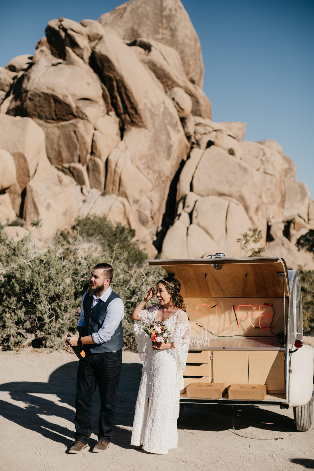 Intimate Joshua Tree Elopement Ceremony - Bride Groom