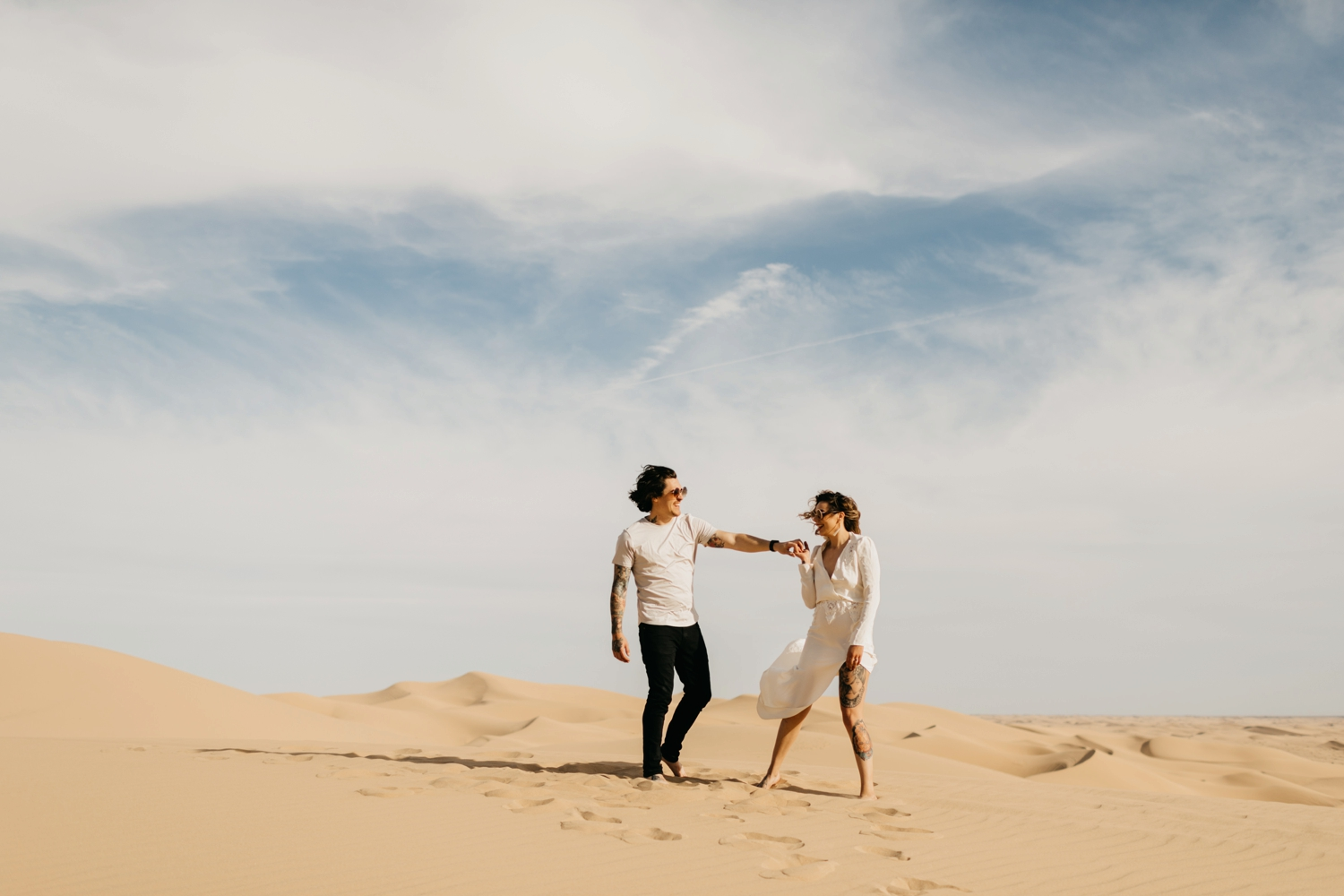 couple dancing in Glamis Sand Dunes