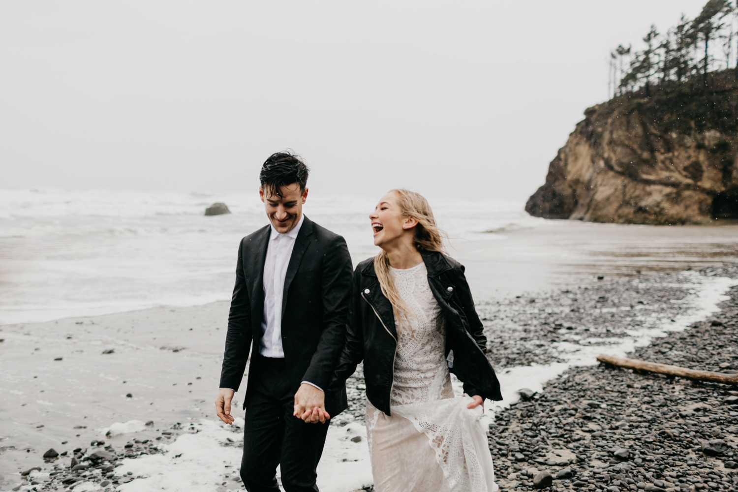 Oregon Coast Cannon Beach Elopement wearing Grace Loves Lace Inca Dress