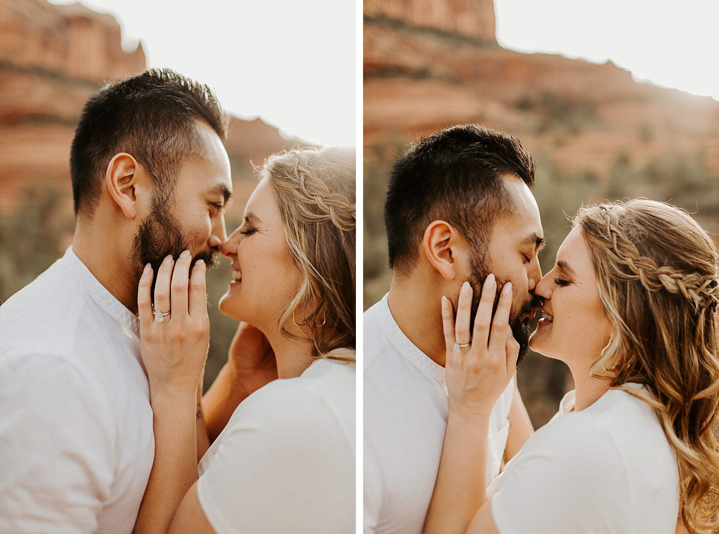 couple kissing at bell rock